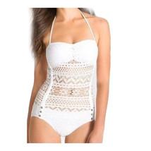Siamesed Hollow Gauze Bikini Swimwear Swimsuit  white  S - $22.99