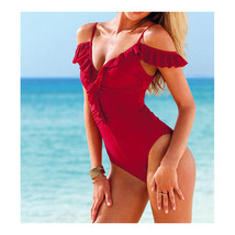 Swimsuit Swimwear Bathing Suit Siamesed  red  S - $21.99