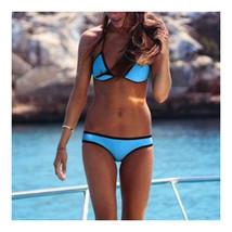 European Swimwear Swimsuit Triangle Bikini  dark blue  S - $15.99