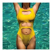 Hollow One-piece Swimwear Swimsuit Bikini Women  yellow  S - $19.99