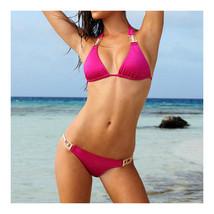Swimsuit Swimwear Bikini National Style Printing   rose red  S - $17.99