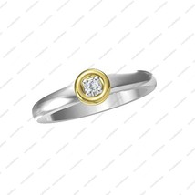 925 Sterling Silver 14K Gold Plated Two Tone Engagement Solitaire Ring SZ 6 7 8 - £26.84 GBP