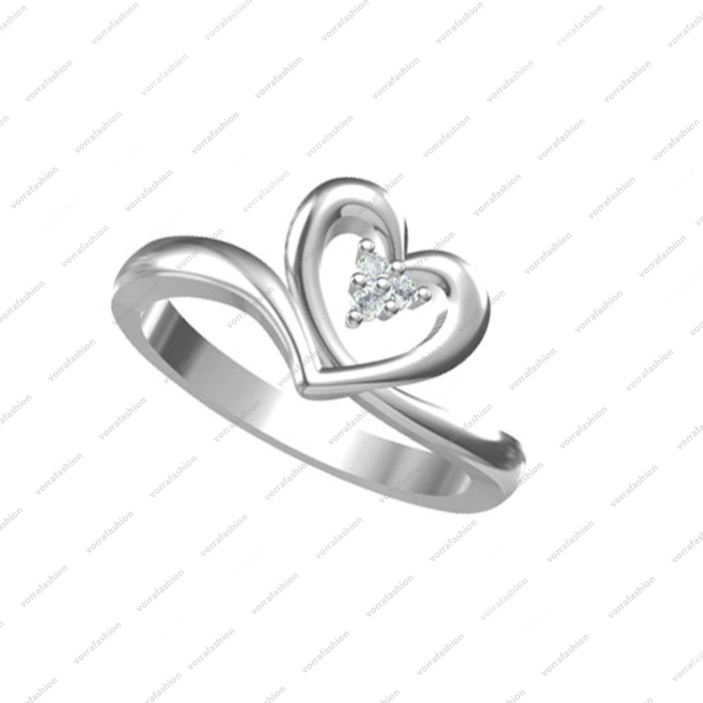 Primary image for 925 Sterling Silver Platinum Plated White Stone Heart Style Ring in Size 5 6 7 8