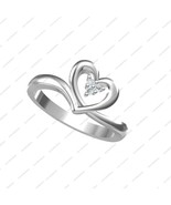 925 Sterling Silver Platinum Plated White Stone Heart Style Ring in Size... - £11.90 GBP