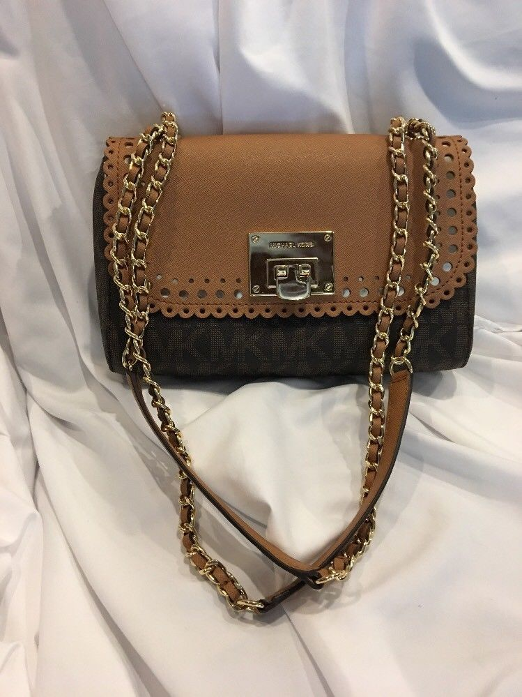 f04e3bde9f56 51adggvmczl. sl1500 a1e3b ebay michael kors violet vivian shoulder flap  leather bag brown plgold chain purse 38124 15c36 ...