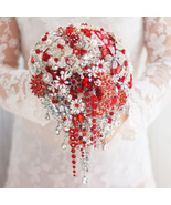 Red bridal brooch bouquet, wedding bouquet crystal droplets teardrop bou... - $297.00
