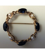 PIN / BROOCH [4]  REAL PEARLS [4]  MARQUISE SHAPED BLACK ONYX 12-K GOLD ... - $12.47