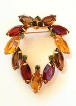 Beautiful Vintage Juliana Shades of Topaz Gold Tone Brooch Pin - $29.02
