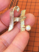Vintage 1950's Letter H Monogram Gold Tone Brooch Pin w/ Genuine Pearl A... - $21.28