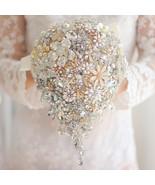 Ivory Gold bridal brooch bouquet, wedding bride 's crystal droplets tear... - $297.00