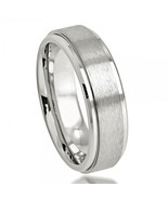 Men's 7mm Cobalt Wedding Band Ring with Satin Finish and Step Down Edge - $79.99
