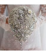 Silver bridal brooch bouquet wedding bride 's crystal droplets teardrop ... - $297.00