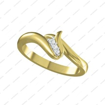 14K Gold Plated 925 Sterling Silver Elegant Round Cut Three Stone Promise Ring  - £12.47 GBP
