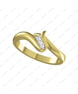 14K Gold Plated 925 Sterling Silver Elegant Round Cut Three Stone Promis... - £11.90 GBP