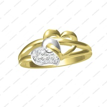 14K Gold Plated 925 Sterling Silver Two Tone Double Heart Engagement Ring 6 7 8 - £30.14 GBP