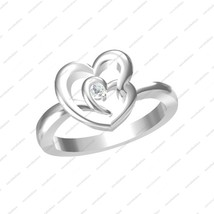 An item in the Jewelry & Watches category: White Gold Plated GP 925 Sterling Silver White Stone Double Heart Solitaire Ring