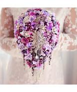 Purple hydrangea bridal brooch bouquet custom luxury diamond teardrop bo... - $288.00