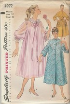 Vintage Sewing Pattern Simplicity 4972 Duster Negligee Housecoat Size 12 - $8.90