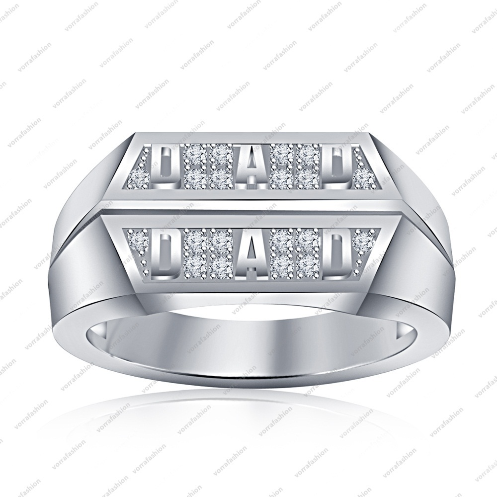 Father Day Special Dad Ring 925 Sterling Silver Round Cut White Cubic Zircon 6 7