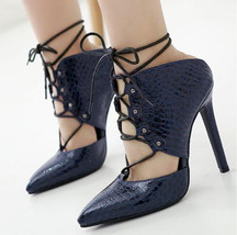 ps231 Awesome Gladiator sandals, high heel,pu embossed leather, size 35-40,blue - $58.80