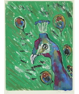 Peacock Bird Art Monotype Solomon - $40.00