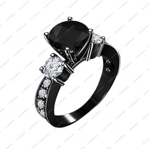 Black Rhodium Finish 925 Sterling Silver Round Cut CZ 3 Stone Engagement... - $75.67
