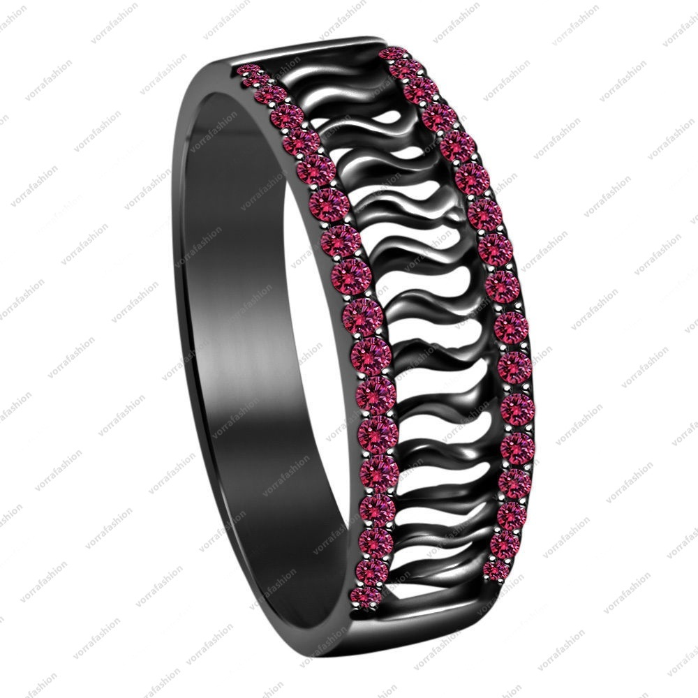 Primary image for Black Rhodium Plated 925 Sterling Silver Round Cut Pink Sapphire Band Ring