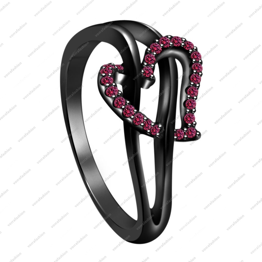 Primary image for 925 Sterling Silver Black Rhodium Plated Pink Sapphire Heart Engagement Ring
