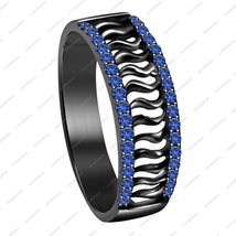 925 Sterling Silver Black Rhodium Plated Blue Sapphire Wedding Band Ring - $92.99