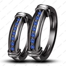 Women's 925 Silver Black GP Blue Sapphire Engagement Bridal Ring Set - $82.55