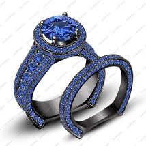 Black Rhodium Plated 925 Sterling Silver Blue Sapphire Engagement Bridal Set - $144.29