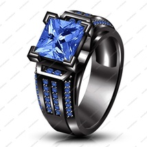 925 Sterling Silver Black Rhodium Plated Princess Cut Blue Sapphire Wedding Ring - $99.99