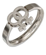 STAINLESS STEEL CUT OUT LESBIAN GAY PRIDE RING SIZES 5-9 - $19.99