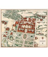 1943 PICTORIAL map Stanford University campus buildings woods POSTER 8377000 - $15.84
