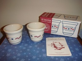 Longaberger Pottery All American Set Of 2 Votive Candle Holders - $11.99