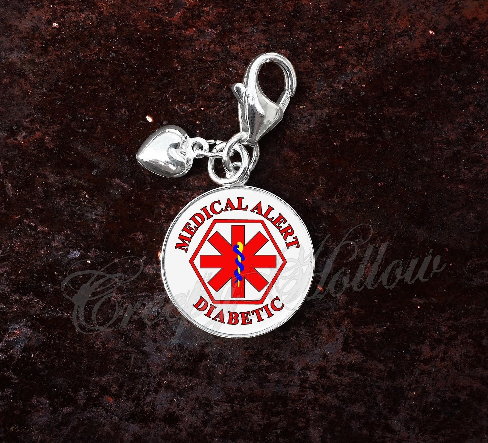 Primary image for 925 Sterling Silver Charm Diabetic Medical Alert Symbol Caduceus