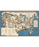 1940 pictorial map Against Intolerance America one many countries POSTER 8212 - $15.84