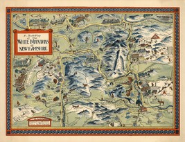 1960 pictorial map White Mountains of New Hampshire POSTER 8782000 - $15.84