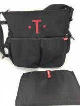 Skip Hop Black Diaper Shoulder Bag Changing Pad Letter T Embroidered in Red - $55.37