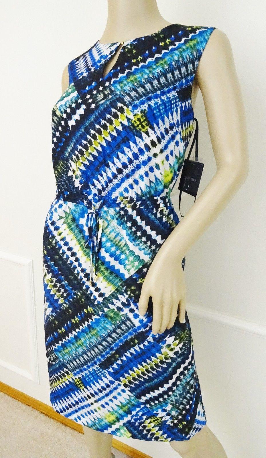Nwt Ellen Tracy Sleeveless Belted Printed Sheath Dress Sz 12 Blue Geometric $99