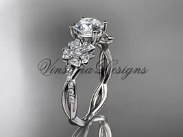 14kt white gold diamond, Sakura engagement ring One Moissanite VD10044 - $1,900.00