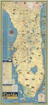 1932 PICTORIAL Historical Map of Florida Includes mileage table POSTER 9... - $15.84