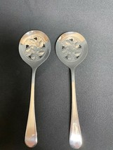 Vintage Sheffield Silverplate Slotted Serving Spoons - 2 pcs - $25.69