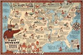 1935 Paul Bunyan's pictorial map of the United States Humorous POSTER 83... - $15.84