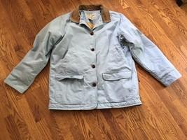 LL Bean Blue Cotton Canvas & Corduroy Barn Field Jacket Womens Lined Coa... - $74.79