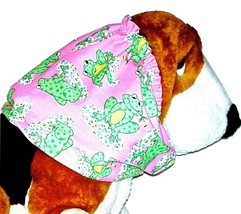 Dog Snood Big Happy Froggies Pink Green Lightweight Cotton Basset Hound ... - $12.50