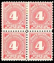 R199, Mint NH/H 4¢ Block of 4 Documentary Stamps Cat $125.00 - Stuart Katz - $50.00