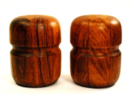 Teak Staved Wood Salt Pepper Shakers Mid Centur... - $42.00