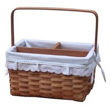 New Vintiquewise(TM) Woodchip Picnic Caddy Basket Lined with Lace Trim,Q... - $15.50