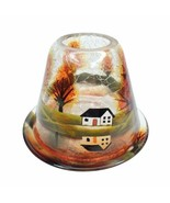 Yankee Candle Crackle Glass Jar Shade/Plate Autumn Fall Woods White Hous... - $64.99
